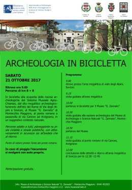 """""""Archeologia in bicicletta"""", si recupera il 21ottobre"""