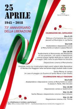 73° anniversario della Liberazione, gli appuntamenti incittà