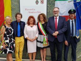 Piazzetta in centro a Passau intitolata a Montecchio Maggiore per festeggiare i 15 anni di gemellaggio tra le duecittà
