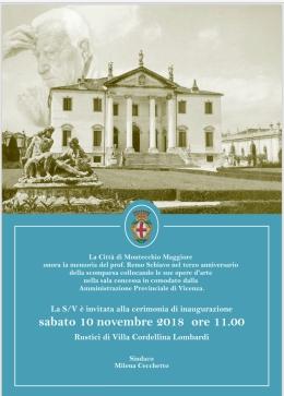 A tre anni dalla sua scomparsa, la Città di Montecchio Maggiore ricorda il prof. Remo Schiavo con l'apertura al pubblico, nei Rustici di Villa Cordellina Lombardi, della sala che ospita la sua collezioned'arte